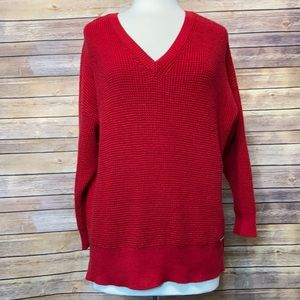 Michael Kors Red V-Neck Pullover Sweater 1X